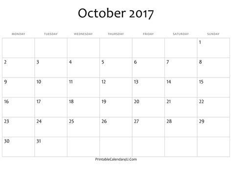 Calendar 2017 October Free Printable October 2017 Calendar Printable With Holidays Free