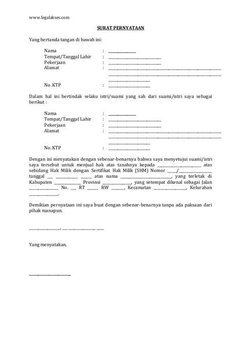 format surat keterangan harga tanah surat persetujuan suami istri untuk menjual tanah bangunan