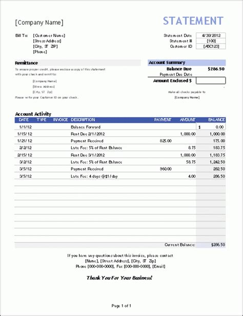 invoice statement template bill statement template mughals