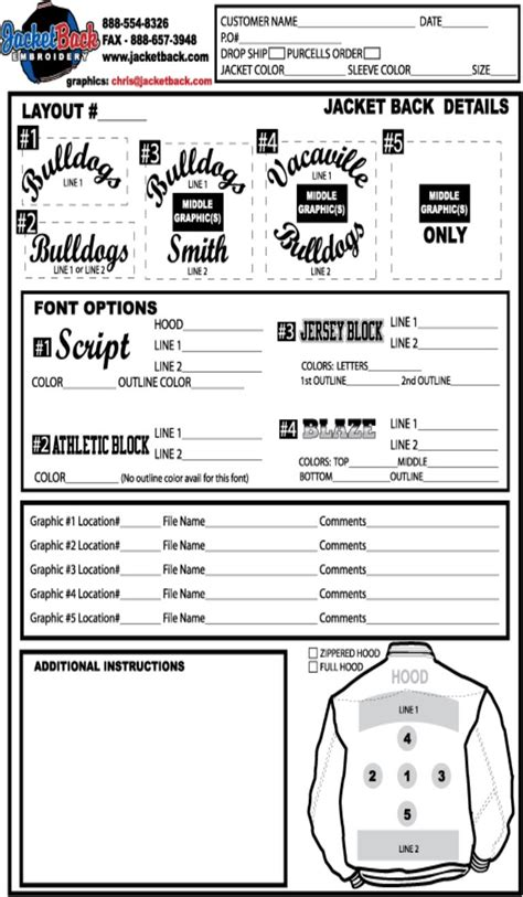 best photos of logo embroidery order form template