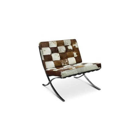 Cowhide Chair Australia - barcelona leather chair replica brown and white cowhide