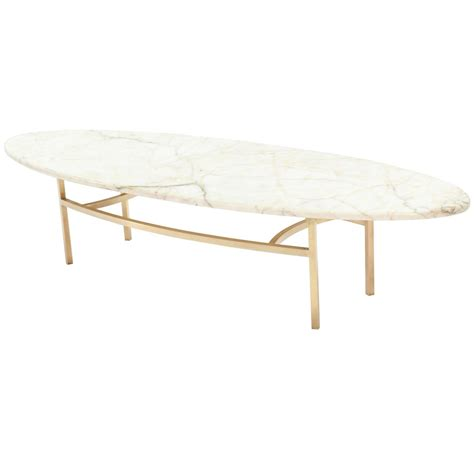 Oval Marble Coffee Table Brass And Oval Marble Top Mid Century Modern Coffee Table At 1stdibs