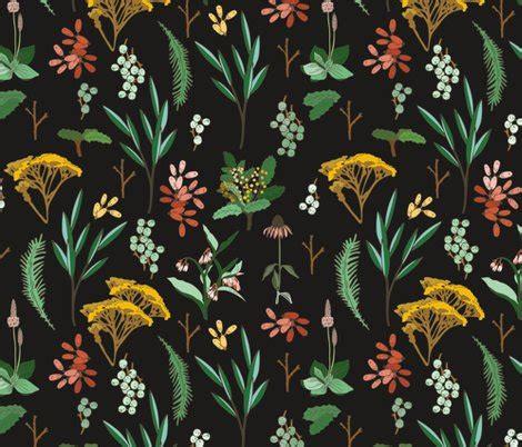 Sho Herbal Bsy herbal study dark fabric holli zollinger spoonflower