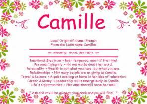 origin of the word camille unique names