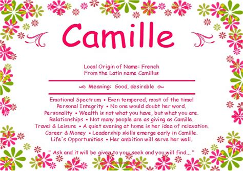 Meaning Of The Word Camille Unique Names