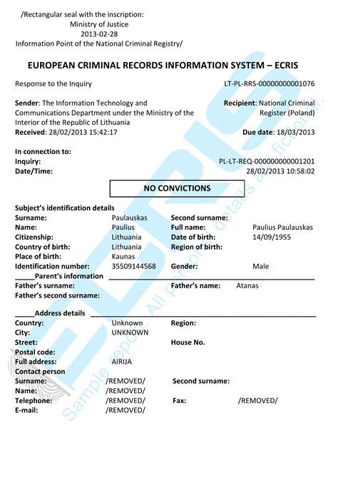Criminal Record Check Republic Lithuanian Criminal Record Check From Institutional Register Of Suspected Accused And