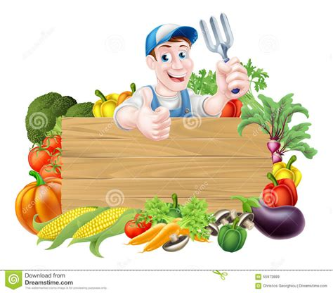 Garden Signs For Vegetables Vegetable Gardener Sign Stock Vector Image 55973889
