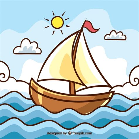 cartoon boat waves cute landscape with boat and waves vector free download