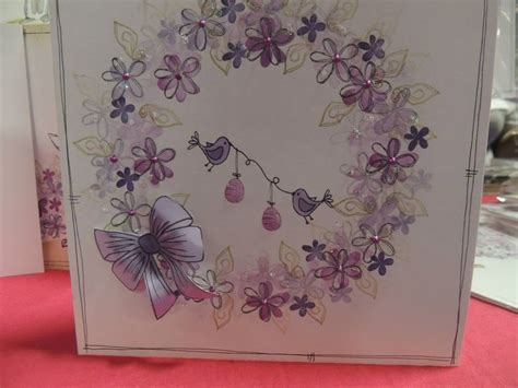 rubber st tapestry handmade greeting card playful wreath sted with peg