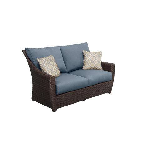 Patio Cushions For Loveseat Hton Bay Woodbury All Weather Wicker Patio Loveseat