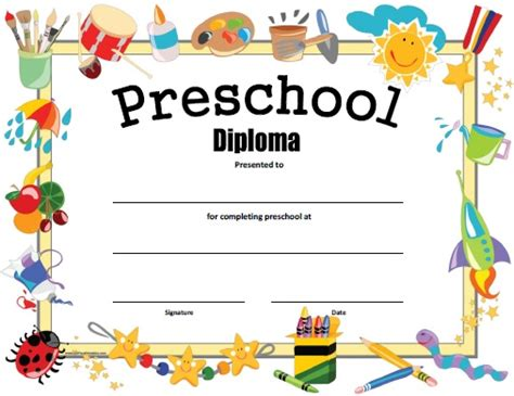 Preschool Graduation Certificate Template Free preschool diploma free printable allfreeprintable