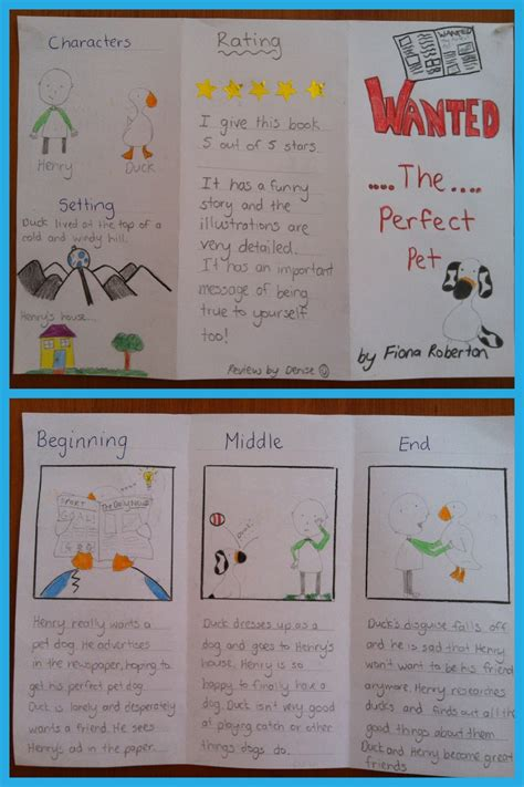 ideas for a book report simple book review phlet relief teaching ideas