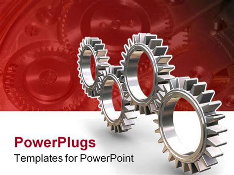 3d render of interlocking gears powerpoint template