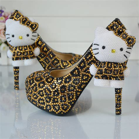 leopard gold and black rhinestone wedding shoes with hello