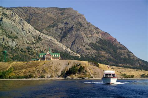 waterton boat boat tour on waterton lake around prince of wales hotel in