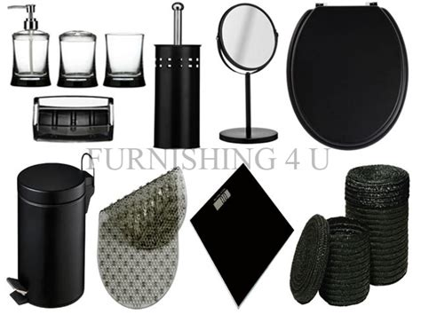 11pc black bathroom accessories set bin toilet seat