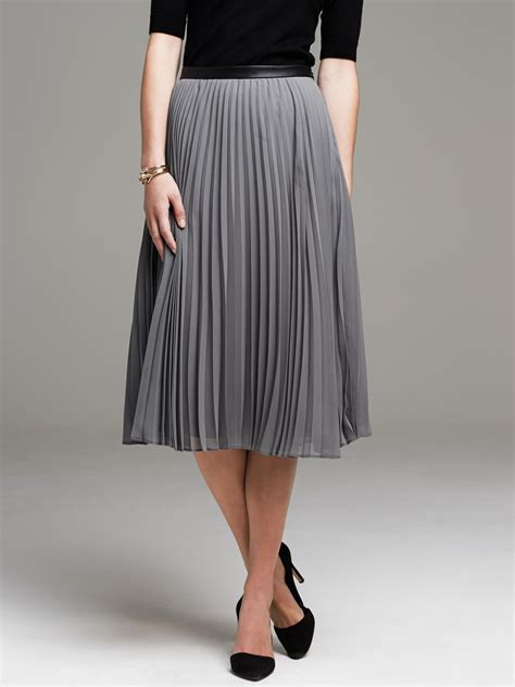 banana republic pleated chiffon midi skirt in gray