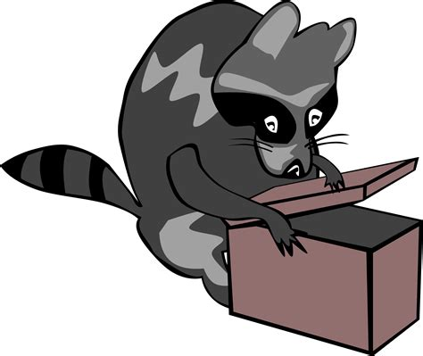 open clipart clipart raccoon opening box