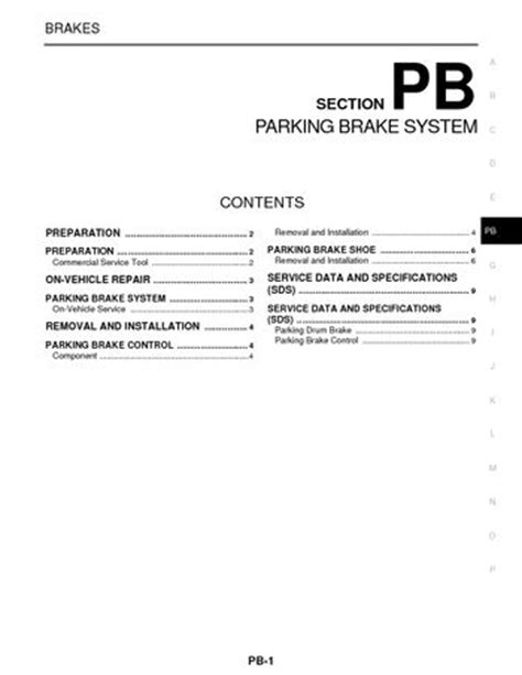 free download parts manuals 1997 nissan pathfinder parking system 2008 nissan pathfinder parking brake system section pb pdf manual 9 pages