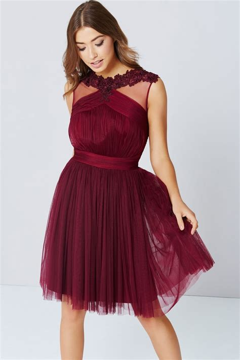 Dress Maroon maroon lace and mesh prom dress from uk