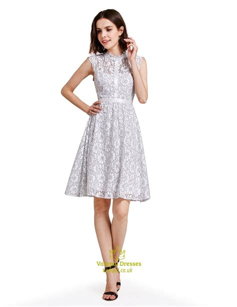Sleeveless Lace Cocktail Dress lovely white a line knee length sleeveless lace cocktail