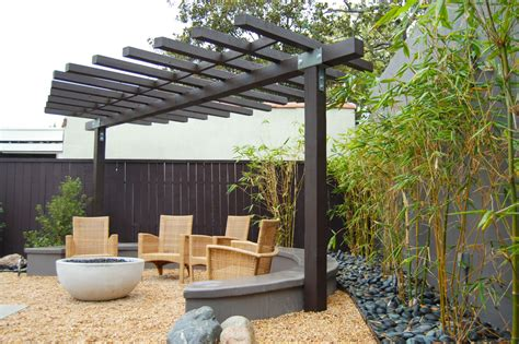 modern pergola patio asian with outdoor pit firepit