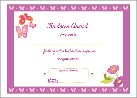 kid certificate templates free printable kindness printable award certificate lottie dolls