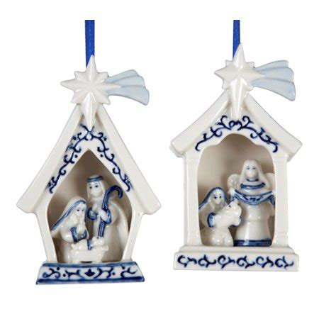 christmas ornaments delft blue and white delft blue and white holy family porcelain ornaments set of 2 walmart