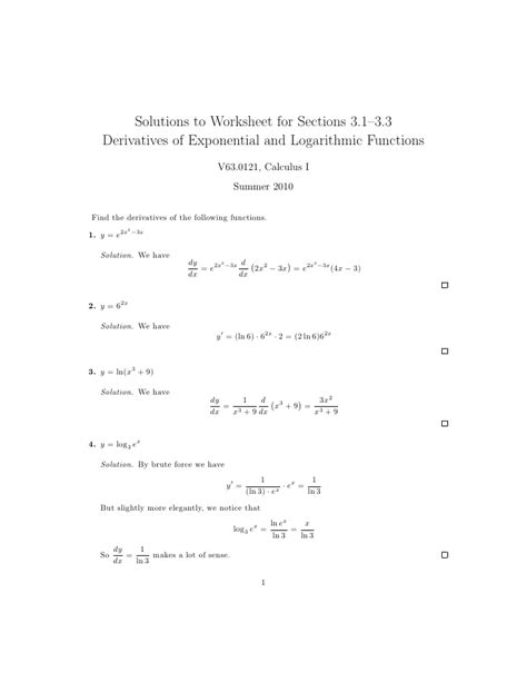 Logarithm Worksheet With Answers by Lesson 8 Derivatives Of Logarithmic And Exponential
