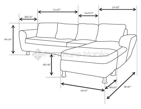 couch dimentions alina l shaped sofa with stool home office furniture