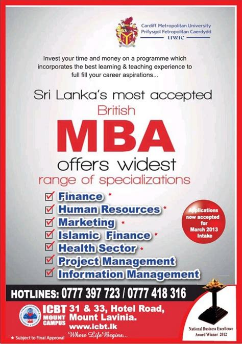 Icbt Mba Sri Lanka by Icbt Mba Programme March 2013 Intakes 171 Synergyy
