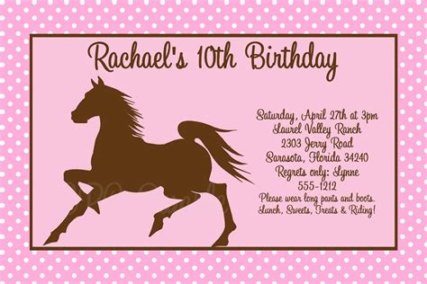 printable birthday cards horses free horse birthday party invitations theruntime com