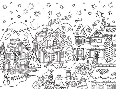 village house coloring pages christmas village adult coloring page