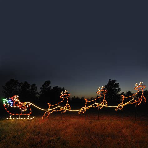 reindeer sleigh lawn decorations for christmas shop lighting specialists 4 75 ft santa sleigh and reindeer outdoor