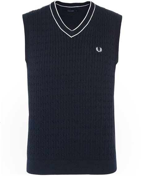 Fred Perry Tank Top fred perry navy cotton cable knit v neck tank top k3519