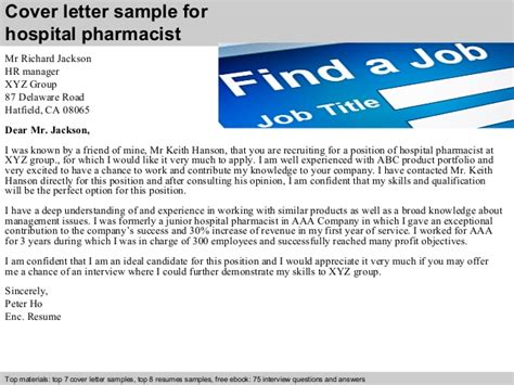 Hospital Pharmacist by Hospital Pharmacist Cover Letter