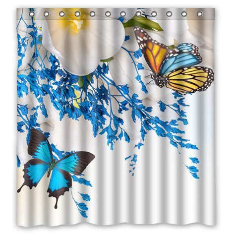 blue butterfly shower curtain blue butterfly white flower custom design bath bathroom