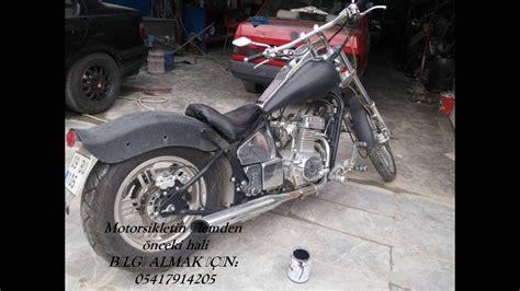 chopper cinsi motorsikletin sulu kaplama ile degisimi