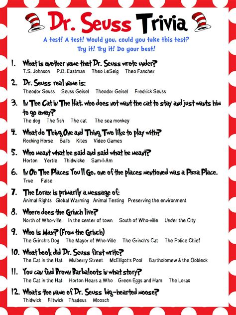 dr seuss trivia perfect for baby showers bridal showers