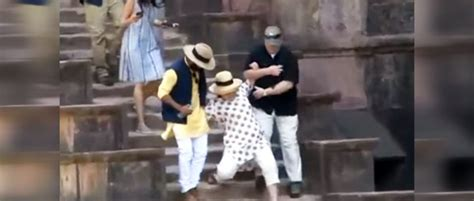 hillary clinton falling down stairs the daily caller watch hillary falls down stairs in india twice dangerous