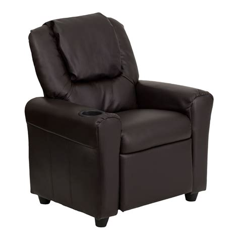 Child Size Recliner With Cup Holder by Flash Furniture Brown Vinyl Recliner W Cup Holder Headrest Dg Ult Kid Brn