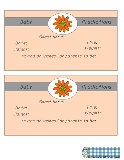 team prediction card template free printable baby predictions for baby shower