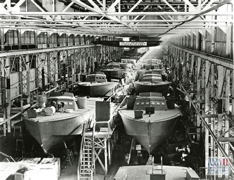 higgins boat engine view of a higgins boat assembly line in louisiana in the