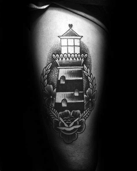 black and grey lighthouse tattoo 40 traditional lighthouse tattoo designs for men old school