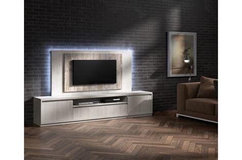 Salon Tv Moderne by Meuble Tv Moderne Avec Panneau Tv Fr 234 Ne Et Bois Vieilli