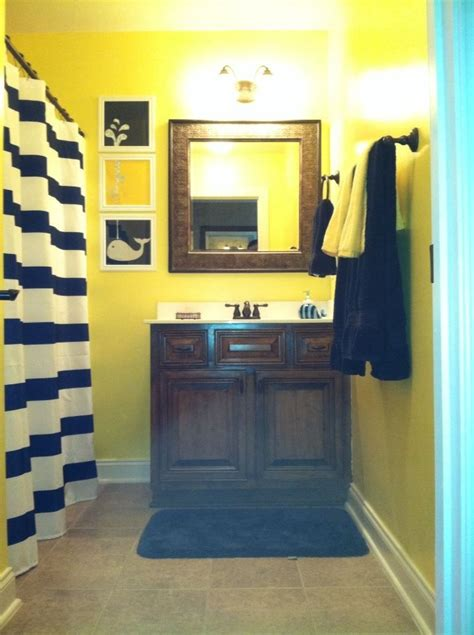 blue and yellow bathroom ideas navy and yellow nautical boys bathroom house pinterest