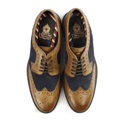 Brogue Shoes base conflict mens suede leather lace up two tone