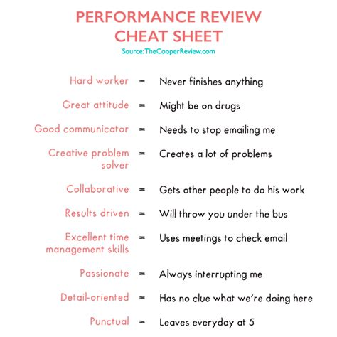 sheet reviews performance review sheet the cooper review
