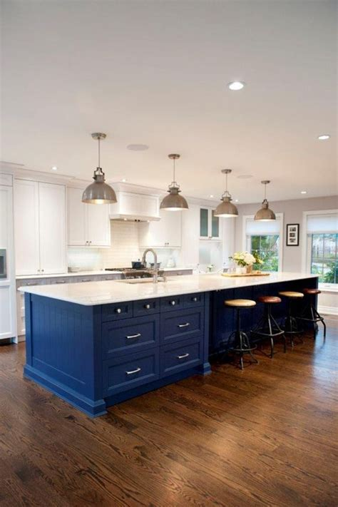 big kitchen island kitchens pinterest 30 gorgeous blue kitchen decor ideas digsdigs
