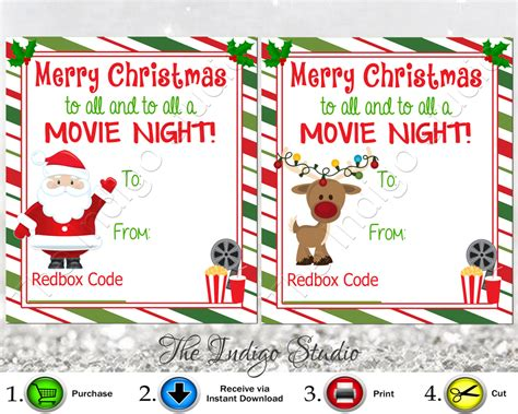 Redbox Gift Card - redbox codes gift tags cards digital printable 4 different